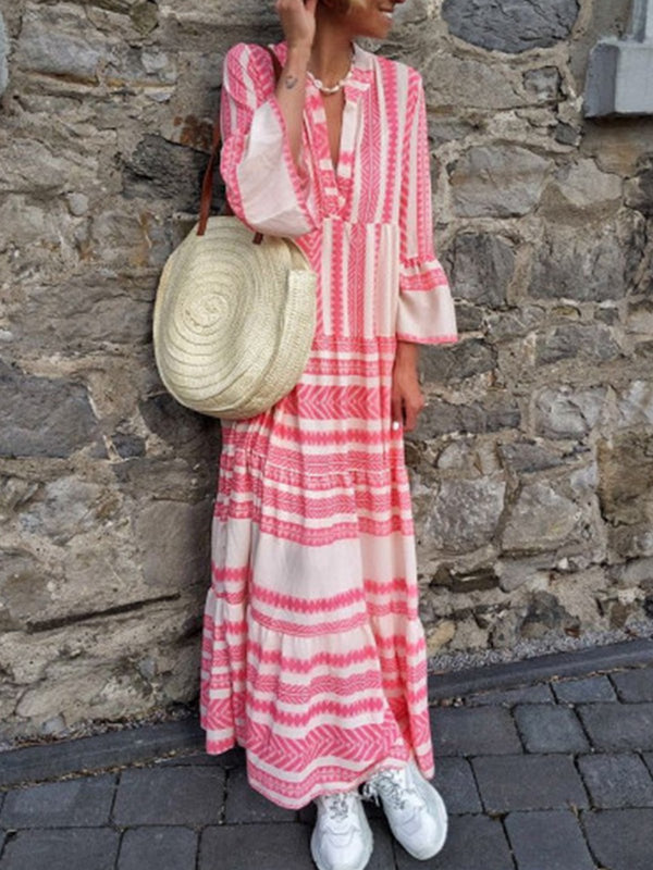 Mostata Boho Pink Women Dresses Daily Printed Tribal Dresses