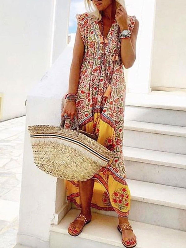 Mostata Floral Sleeve Boho Shift Mexican Dress