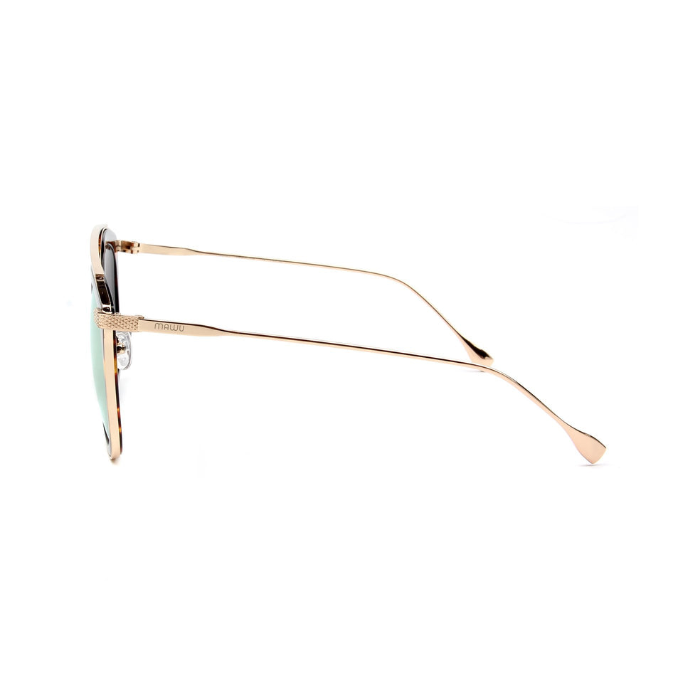 Julie Dark Tortoise - Side View - Gold Mirror lens - Mawu Sunglasses