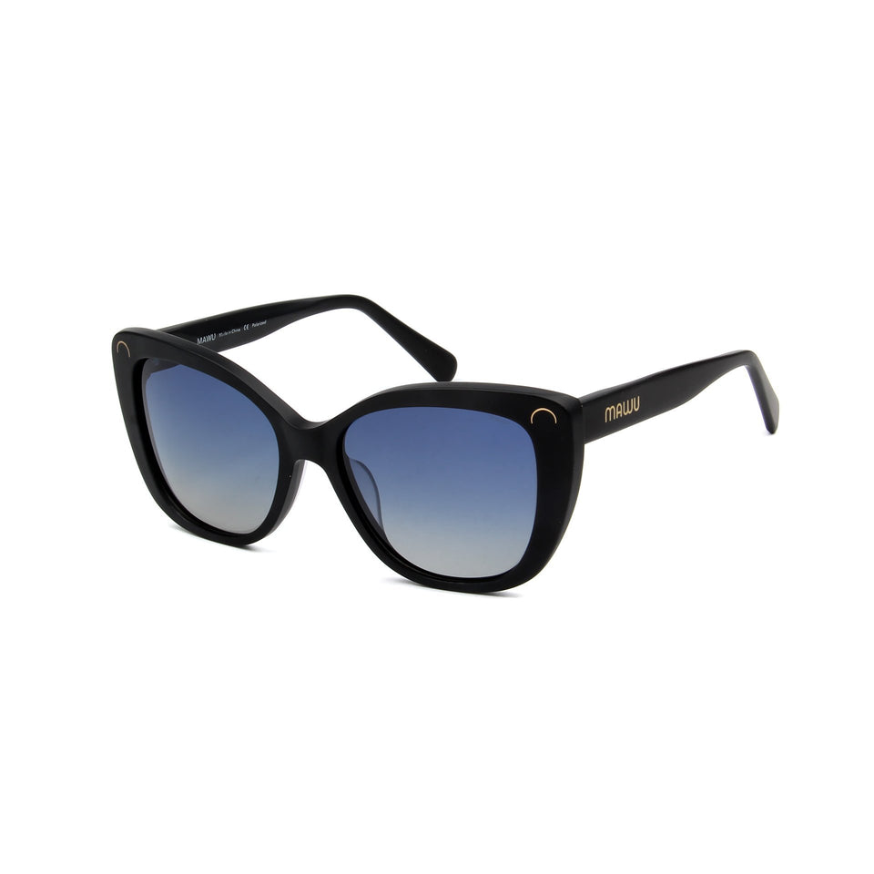 Serene Matte Black - Angle View - Blue Gradient lens - Mawu sunglasses