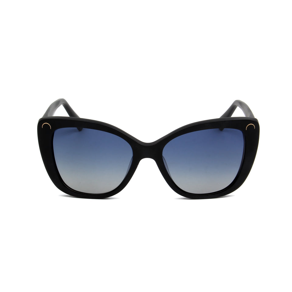 Serene Matte Black - Front View - Blue Gradient lens - Mawu sunglasses