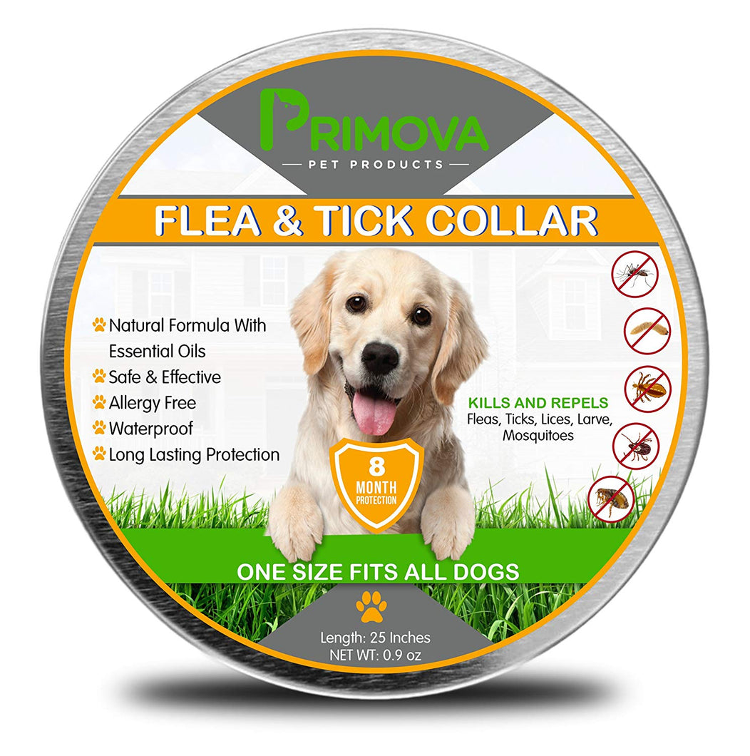 Flea and Tick Prevention Collar for Dogs with Natural Essential Oils - Primova Pet Products
