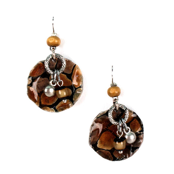 Costume Fashion Earrings in a Giraffe Animal Print Design - Takam8391