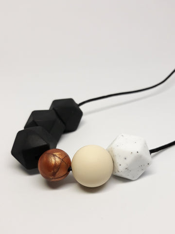 black and copper silicone teething necklace New Zealand