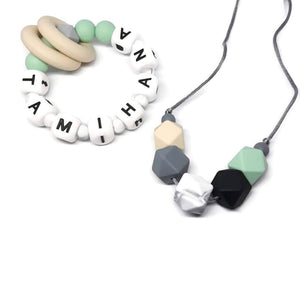Personalised teething ring with matching nursing necklace