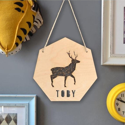 Wooden Personalised Deer Nursery Decoration