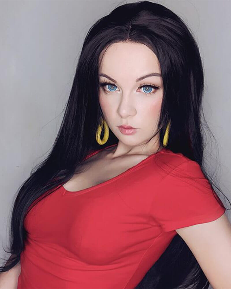 Long Black Synthetic Lace Front Wig WT001