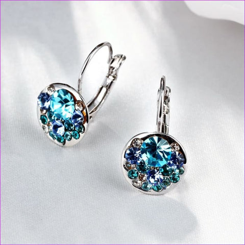 Swarovski Earrings for Women Blue Heart Crystal Stud Earring  925 Sterling Sliver