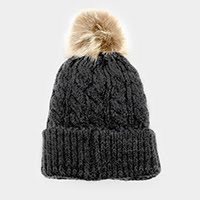 Women's Dark Grey Knit Pom Pom Hat