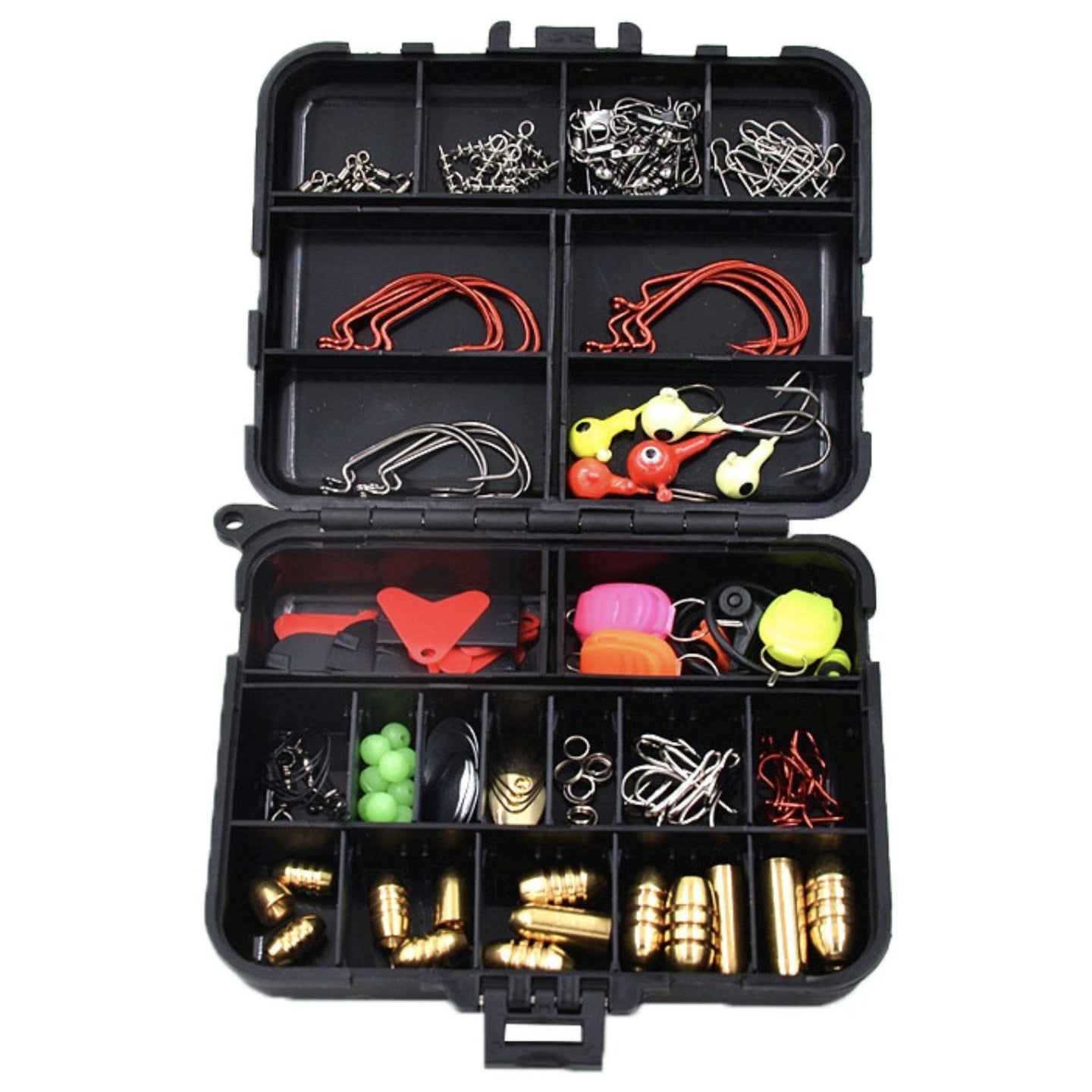 128Pcs Kit - Hard/Soft - Bait/Lure Fishhooks & Tools - Tackle Box Set for Saltwater & Freshwater-Kayak Shops