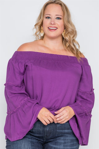 Plus Size Off-the-shoulders Bell Sleeve Top