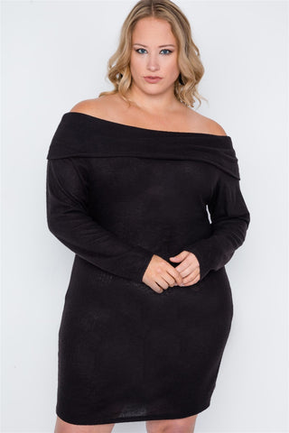 Plus Size Black Off-the Shoulder Long Sleeve Dress