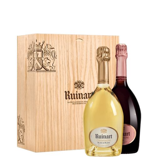 Ruinart Blanc de Blancs & Rose Champagne in Wooden Gift Box 2x75cl