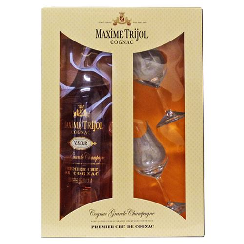 Maxim Trijol Cognac VSOP 70cl 2 Glass Gift Pack 40% ABV