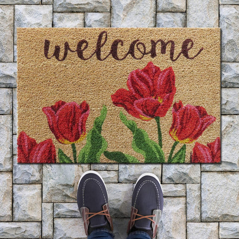 Tulip welcome coir door mat