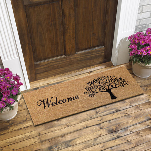 Tree welcome coir door mat