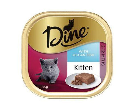 DINE CLASSIC KITTEN STEAMED OCEAN FISH 14X85G - Humble Pet Products