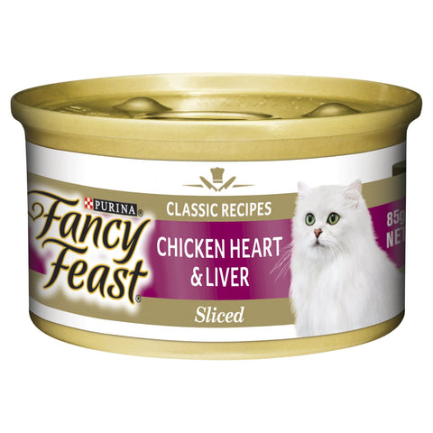 FANCY FEAST CHICKEN HEARTS LIVER 24X85G - Humble Pet Products
