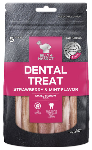 BILLY & MARGOT DENTAL STRAWBERRY SMALL/MED 5pc - Humble Pet Products