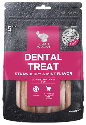 BILLY & MARGOT DENTAL STRAWBERRY LGE/XLGE 5pc - Humble Pet Products