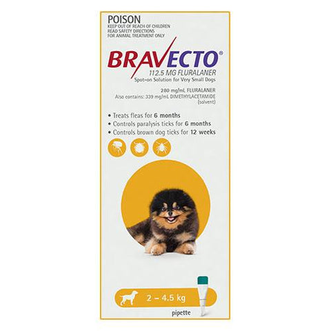 BRAVECTO DOG SPOT ON YELLOW - Humble Pet Products