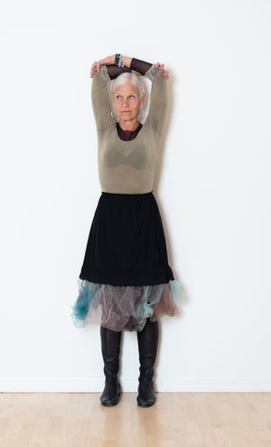 Straight Black Skirt, Aqua/Brown/Neutral Tulle