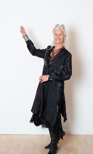 Dancers Jacket in Black and Red Pleating