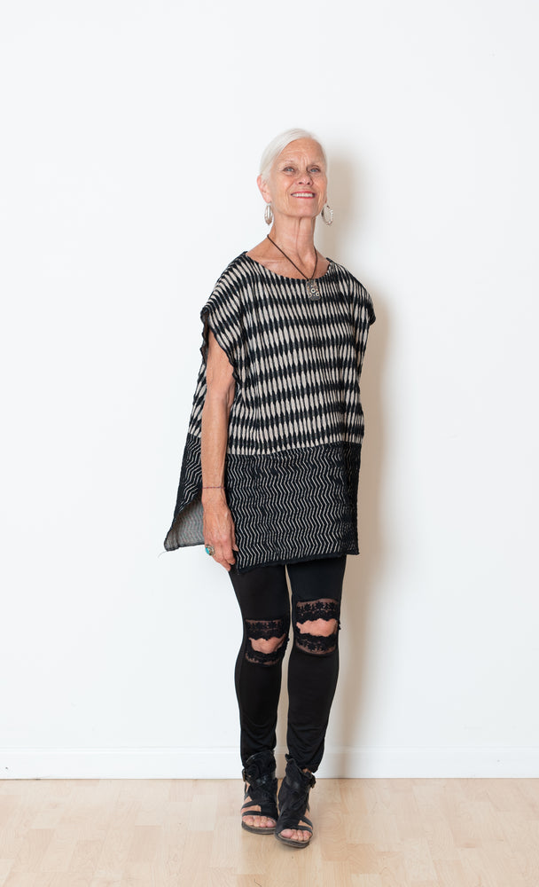 Jacquard Mud Cloth Poncho Vest