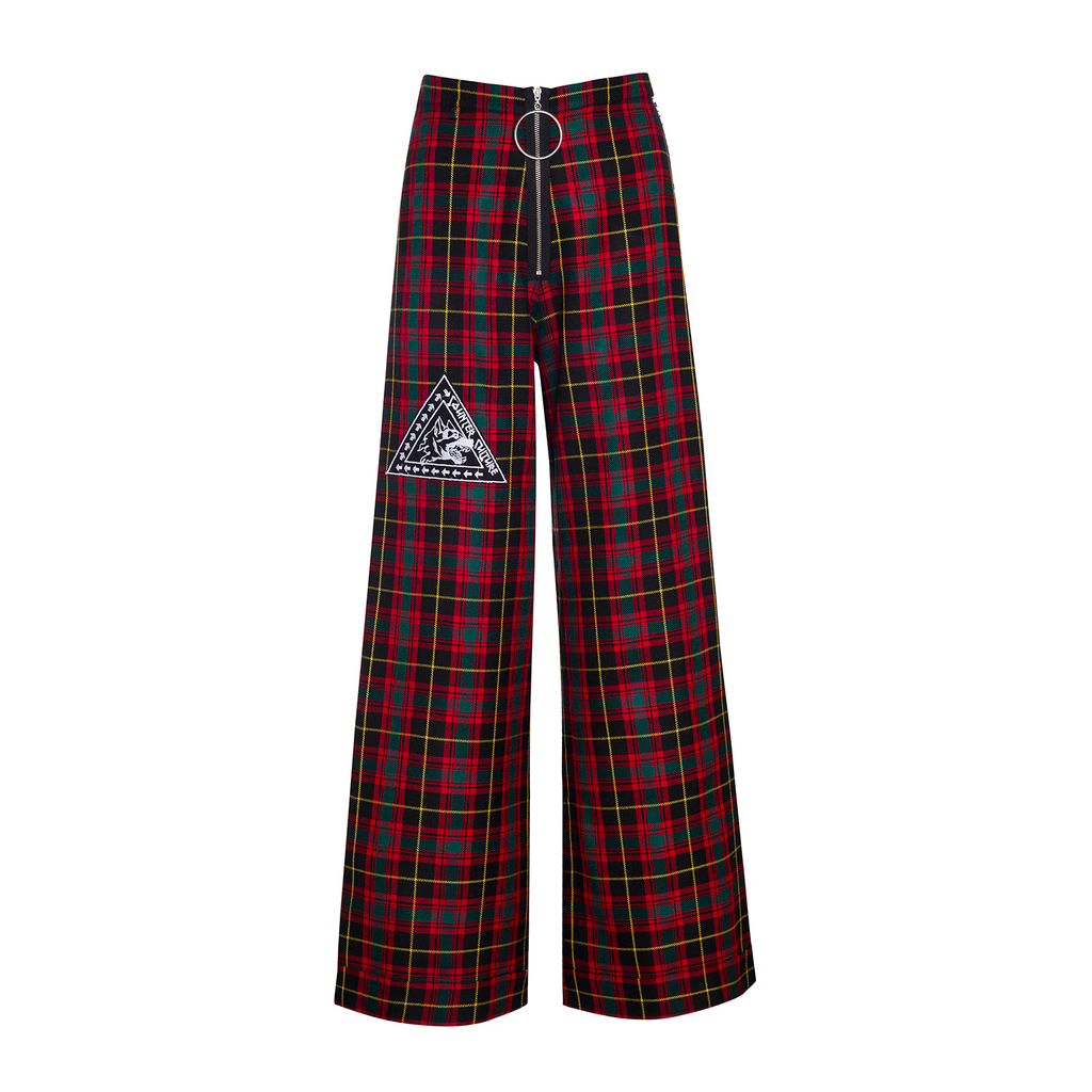 RED TARTAN RECKLESS FLARED PANTS