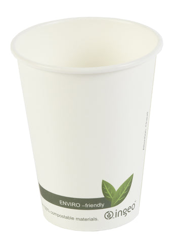 Compostable White Single Wall Coffee Cups