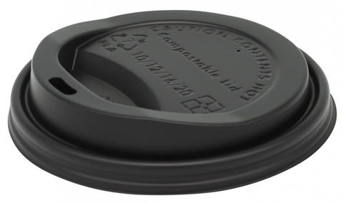 Black CPLA Compostable Coffee Cup Lids - 8oz (79mm) & 10-20oz (89mm)