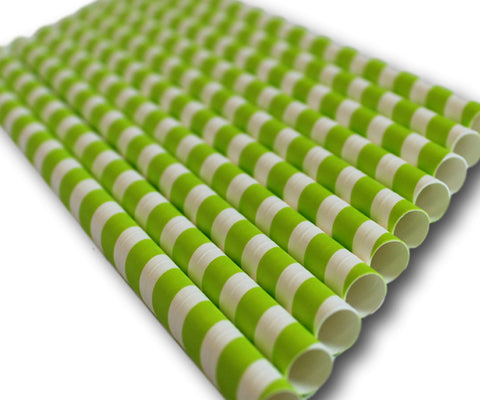 Green & White Stripe Large Compostable Jumbo Paper Straws - 230mm x 10mm