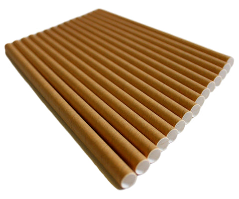 Brown Kraft Compostable Jumbo Paper Straws - 197mm x 8mm