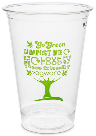 Green Tree Slim Compostable PLA Biodegradable Cold Drinks Cups - 9oz
