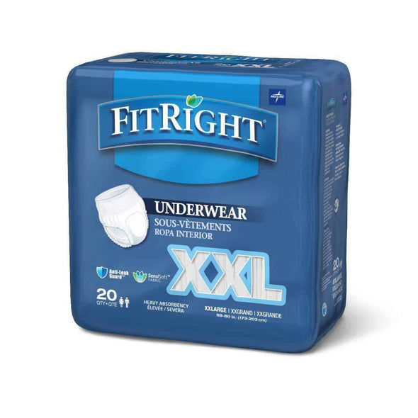 "FitRight Adult Incontinence Underwear Heavy Absorbency - XX-Large, 68""-80""  Case 80 - Senior.com Incontinence"