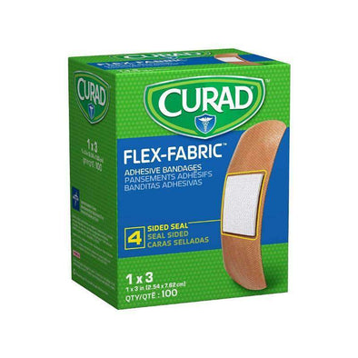 "CURAD Fabric Adhesive Bandages-1""X3"", STRL, LF box of 100 - Senior.com"