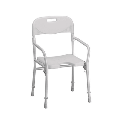 NOVA Medical Folding Shower Chair with U-Shaped Cutout & Back Support - Senior.com Bath Benches & Seats
