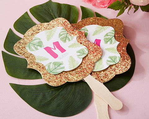Pineapple and Palms Hand Fans in Gold Glitter