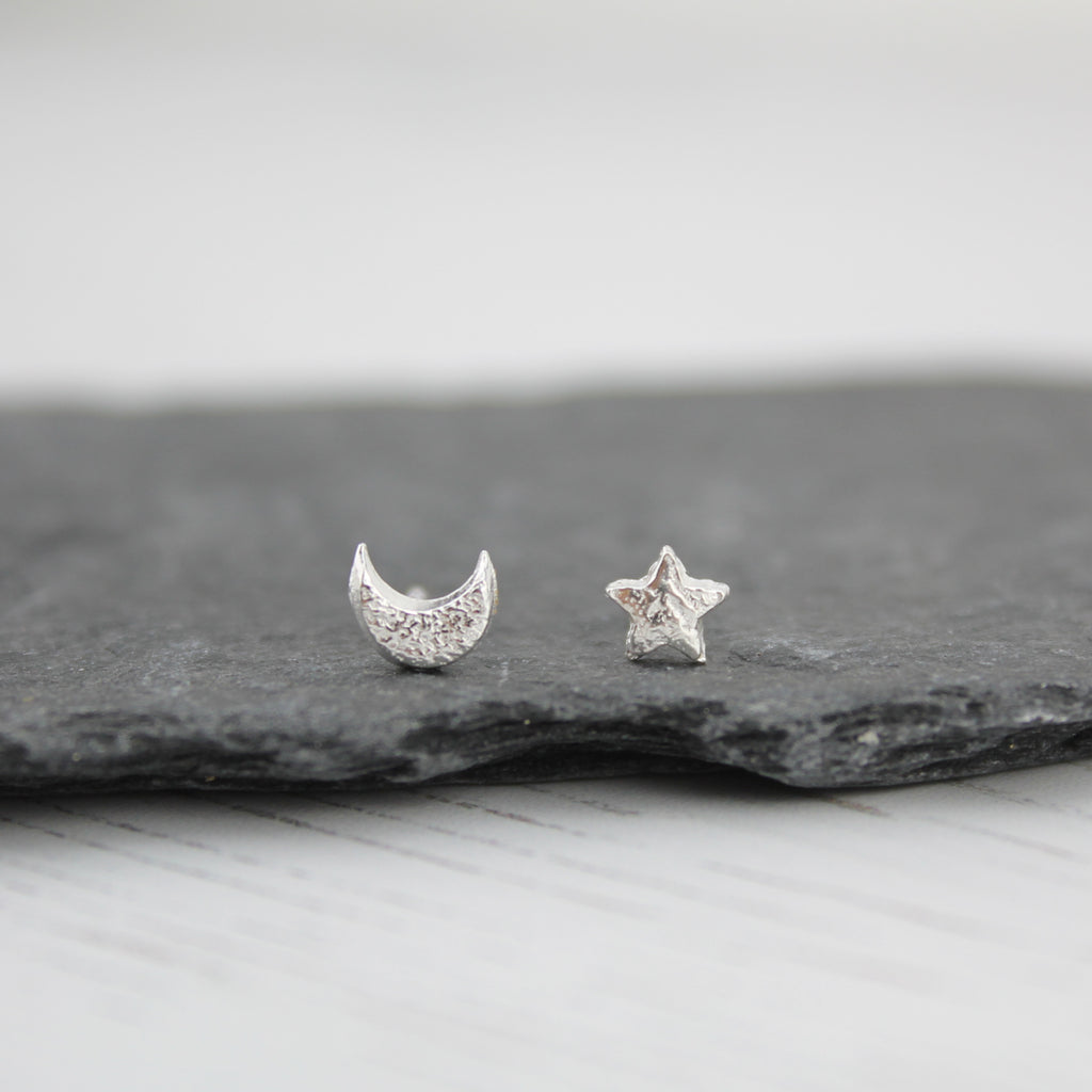 Silver Mismatch Mini Moon & Star Studs