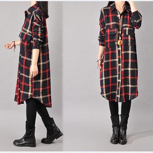 Single Breasted Curved Hem Plaid Shift Dresses