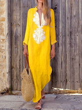 Load image into Gallery viewer, Fashionable Cotton/Line Casual V-Neck Yellow Dress
