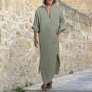 Mens Dress Linen Loose Ethnic Robes