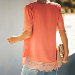 Lace Hem V-Neck Button Front Top