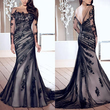 Load image into Gallery viewer, Fashion Lace Gauze Slim Fishtail Evening Dress