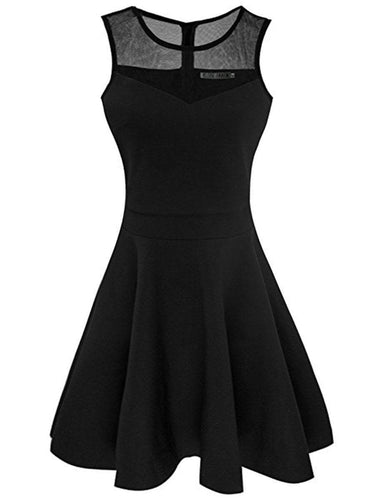 Round Neck See-Through Plain Skater Dress