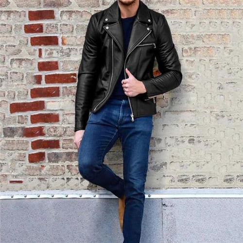 Stylish Casual Youth Slim Plain Zipper Wide Lapel Long Sleeve Leather Jacket Outerwear