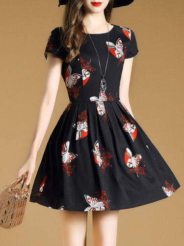 Round Neck Butterfly Printed Mini Skater Dress