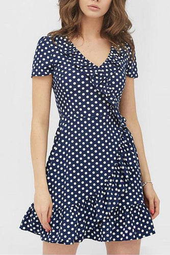 Random Floral Print Short Sleeves Mini Dress