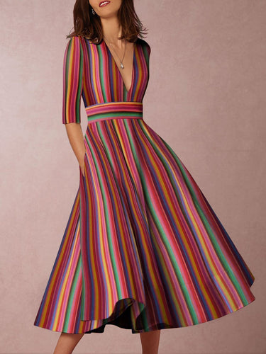 Multicolor Sexy Deep V-Neck Solid Midi Skater Dress