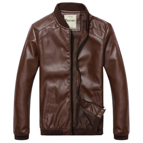 Men Leather Classic Motorcycle Coat